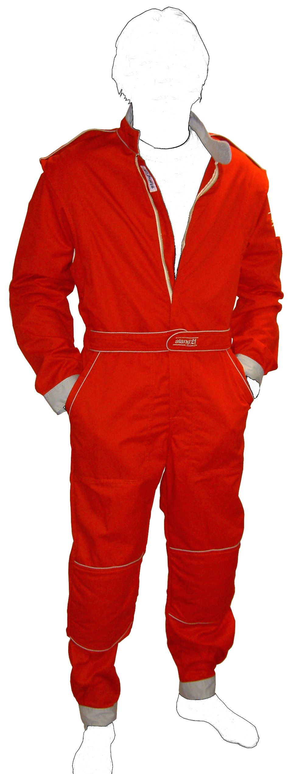 Stock red with grey piping MC2 technical staff suit