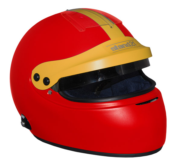 Stock red Vintage IVOS-Double Duty helmet with peak