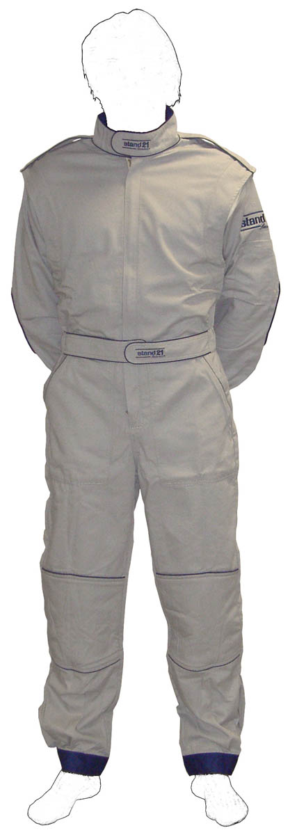 Stock grey with Navy blue piping MC2 technical staff suit